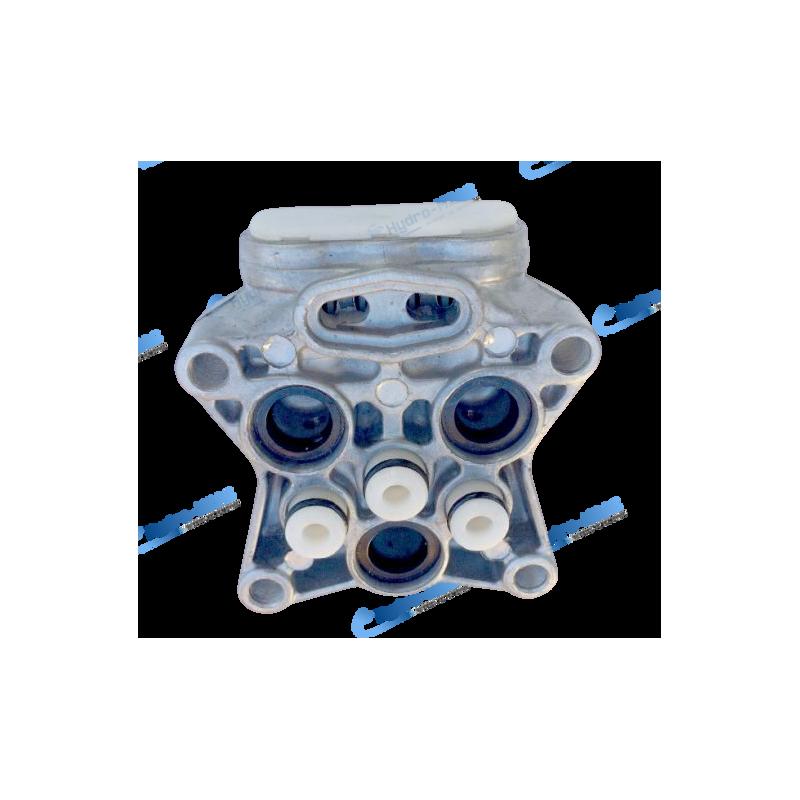 Culasse en aluminium équipée avec 6 clapets et 3 joints pour nettoyeur haute pression Lavor.